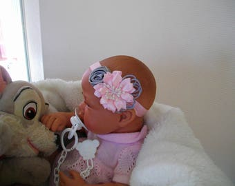 baby baptism, two silver and pink flower headband