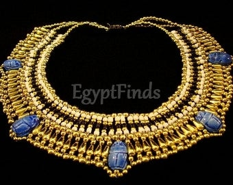 Pretty Egyptian Hand Made Cleopatra 5 Scarabs Necklace