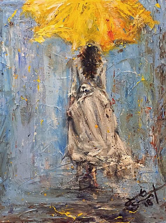 "Umbrella Girl - Untitled - 10""x8"" - Acrylic & Palette Knife on Canvas by Jacob Secrest"