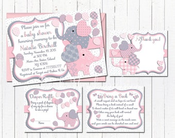 Elephant baby shower printable invitation set baby girl digital invite with inserts thank you bring a book Diaper Raffle card Pink grey