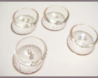 Set of 4 vintage buttons clear glass dome