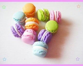 ♥ 10 macarons in Fimo polymer for jewelry - pastel ♥