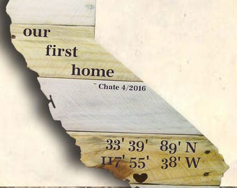 State Shape - State Sign - State Cut Out Sign - 17 x 12 State Cut Out Sign with Coordinates - Personalized - Birthday Gift Idea