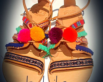 boho handmade sandals, pom pom sandals, women leather sandal, Gypsy sandals, greece leather sandals, bohemian sandals, greek summer sandals,