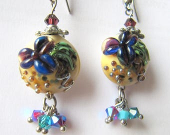 Lampwork Glass and Crystal Earrings