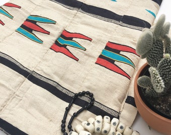African Tribal Textile, Cotton Textile with Tribal Design, Wall Hanging, Pillow Fabric, Boho Upholstery Fabric,One of a Kind