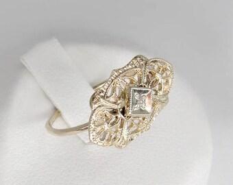 5% OFF gold diamond ring, antique diamond ring, 14k gold solitaire diamond ring,  art nouveau ring, old mine cut ring, 14k antique engagemen