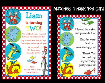 Dr Seuss Birthday Invitation, One Fish Two Fish Birthday, Cat in the Hat Birthday, Dr Suess Invite - Any Age - YOU PRINT - JPEG file only.