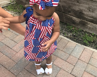 American flag baby dress