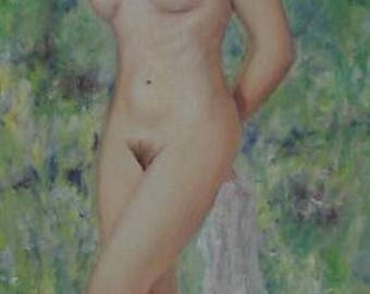 Nude female portrait original oil painting, spring, naked young woman in nature