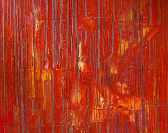 "Wall painting ""Equinox"" red abstract art contemporary, palette knife oil painting"