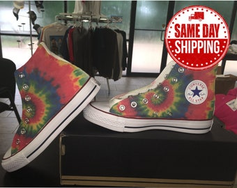 Tie Dye Custom Shoes Hippie Custom Converse All Stars Chuck Taylor Shoes offered in Men's and Women's Sizes with Same Day Shipping.