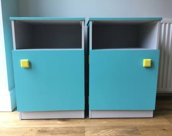 One Bedside Cabinet or a Pair - Painted in Turquiose, Grey & Yellow