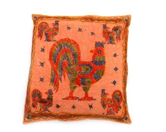 """Indian Pure Cotton Cushion Cover Home Animal Work Decorative Orange Color Size 17x17"""""""