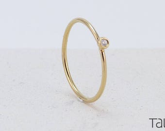 Gold Diamond Ring, Tiny Diamond Ring, 14k Solid Gold, Yellow Gold Ring, Engagement Ring, Minimal Jewelry, Brilliant Cut Diamond, Mom Gift