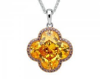 Sparkling Citrine Flower Pendant