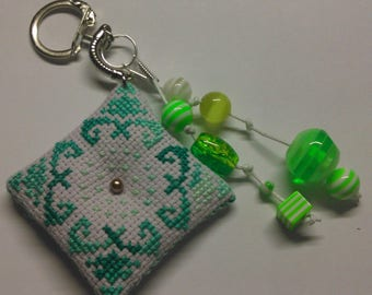 Keychain, charm of 19 hand embroidered bags