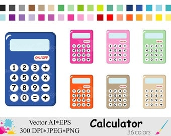 Calculator Clip Art, Rainbow Calculator Clipart, Math Planner Stickers Clipart, School Clipart, Stationary Digital Download Vector Clipart