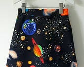 Girls skirt Aline skirt space skirt astronomy skirt planet skirt black skirt star skirt girls clothing girls clothes summer skirt