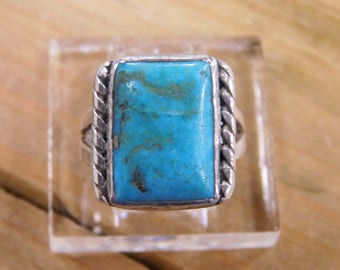 Vintage Sterling Silver Turquoise Ring Size 8