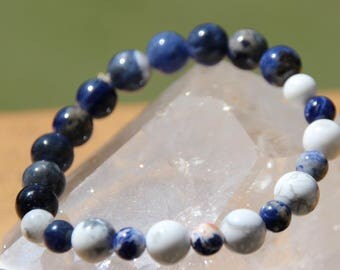 sodalite, calcite and howlite Beads Bracelet
