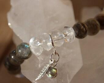 labradorite and quartz bracelet