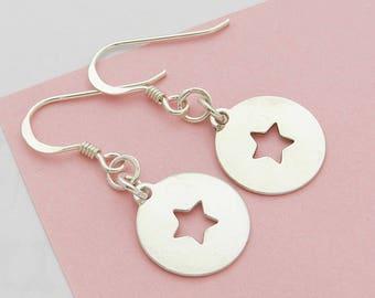 Earrings Silver Star Medal