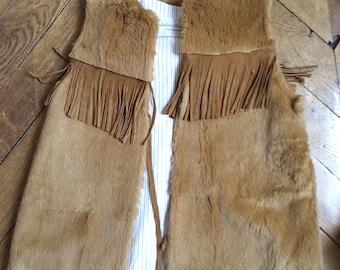Vest fur rabbit and fringes