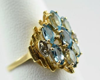 ON SALE Vintage Marquis Cut Swiss Blue Topaz & Gold Ring by Clyde Duneier, Inc.