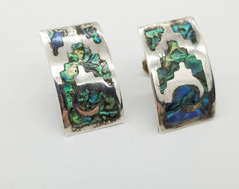 Vintage Sterling Silver & Abalone Inlay Screw Back Earrings, Signed VCG, Made in Mexico