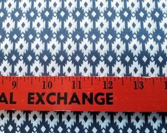 Aztec Diamond Navy Organic Cotton Poplin, Geometric print, Indigo and White, Southwest style, by the half yard or yard