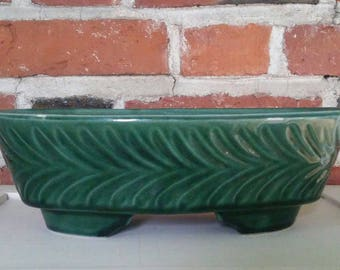 Vintage Green Ceramic Planter Oblong Flower Pot USA Midcentury Retro Pottery 452 McCoy Brush Haeger Style