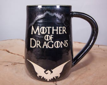 Mother of Dragons Game of Thrones Handmade Coffee Pottery Mug, Black and Silver coffee mug