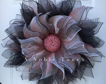 Made to Order Deco Mesh Flower Wreath, Fall Wreath, Front Door Wreath, Whimsical Wreath, by A Noble Touch