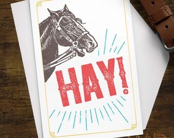 Greeting Card, Hay Horse Vintage Illustration, Stationery, Note Card, Funny card, Humor, Retro