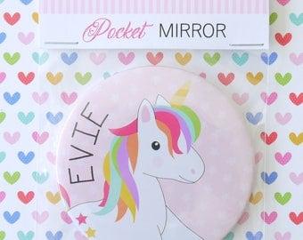 Beautiful Personalised Girls Unicorn Pocket Mirror, Gift, Stocking Filler