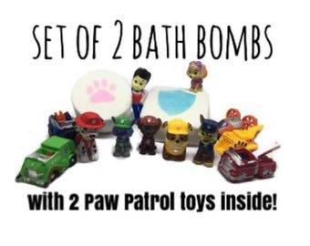 Toy Paw Patrol Set of 2 Kids Bath Bombs - Toy Lavender Essential Oil Bath Bomb Fizzie - Stocking Stuffer - Marshall - Chase - Ryder