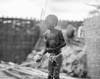 Black and White, African Photography, Girl Bucket Showering, Senegal Photography, Travel Photography, Fine Art Photography, Wall Art Print