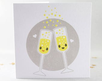 Anniversary Card, Wedding Card, Birthday Card, Champagne Card, Bubbles Card, Valentines Card, Prosecco Card