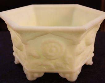 Vintage Fenton Custard Satin Planter Bowl 8226 CU