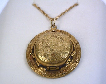 Vintage 1/20 12K Gold Filled Floral Etched Design 4-Way Picture Locket Necklace