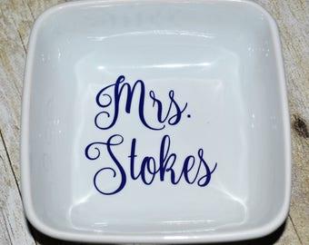 Wedding Ring Dish   Mrs. Jewelry Dish   Ring Holder   Bridesmaid Gift   Custom Jewelry Dish   Trinket Dish   Personalized Ring Dish