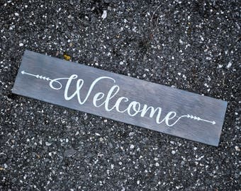 Rustic Welcome Sign | Welcome Plaque | Welcome Wall Decor | Farmhouse Welcome Sign | Wooden Welcome Sign | Front Door Sign | Entryway Sign