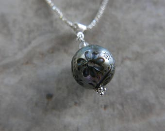 Large Carved Tahitian Pearl, 15 mm pearl, Natural Violet, Sterling Silver Necklace