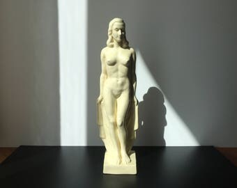 Art Deco Pottery Statue Naked Woman White Ceramic