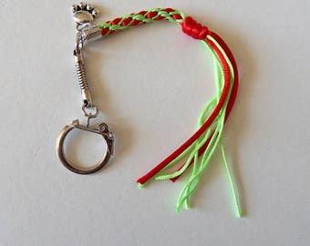Green red kumihimo braided keychain