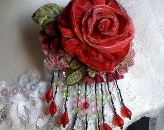 red rose velvet brooch, hand dyed shabby velvet brooch, unique floral pin,  hand made flower brooch,  vintage style pin, floral brooch, posy