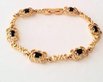 Gold Tone Faux Onyx Bracelet