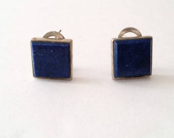 Mid Century 925 Silver Lapis Lazuli Stud Clip Earrings