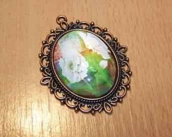 copper flowers 61X48mm cabochon pendant